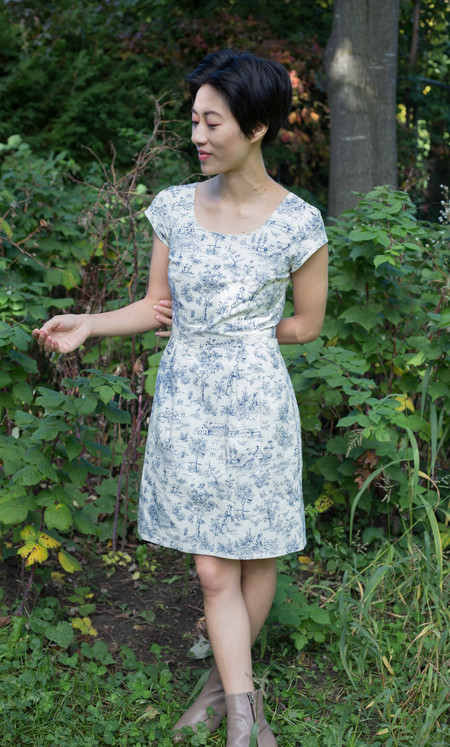 Birds of North America Waterthrush Dress - Navy Toile