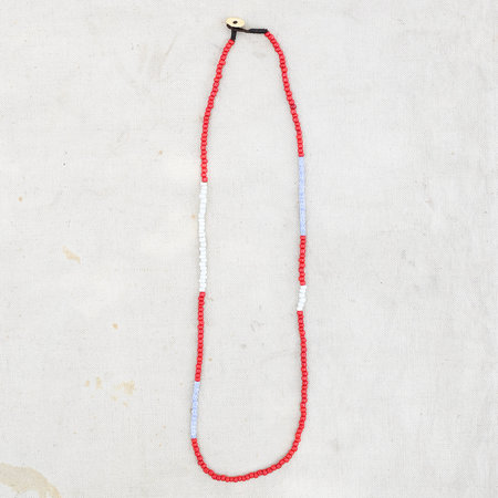 Made Solid African Trade Bead Necklace - Red/White