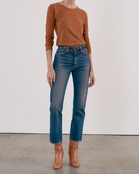 Nili Lotan Long Sleeve Shirt - Khaki/Orange Stripe