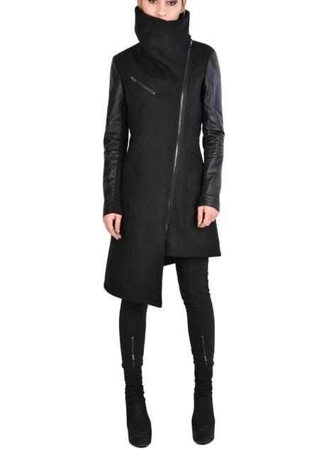 La Haine Asymmetric Funnel Neck Leather Detail Sthaly Jacket