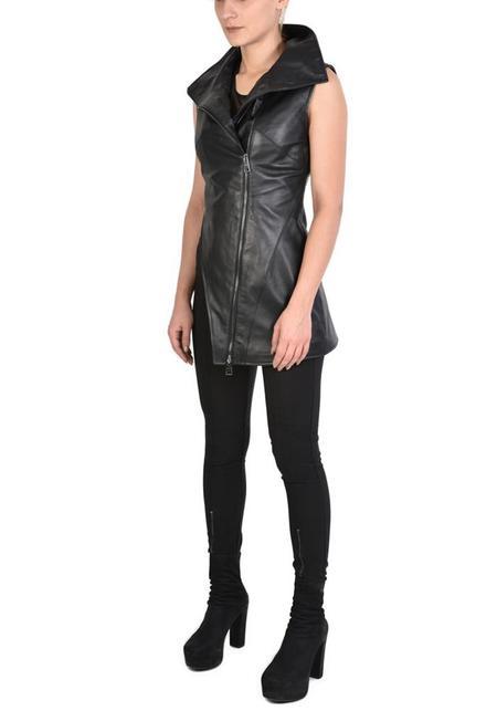 UNISEX La Haine Asymmetric High Neck Zip Front Leather Vusa Vest - BLACK