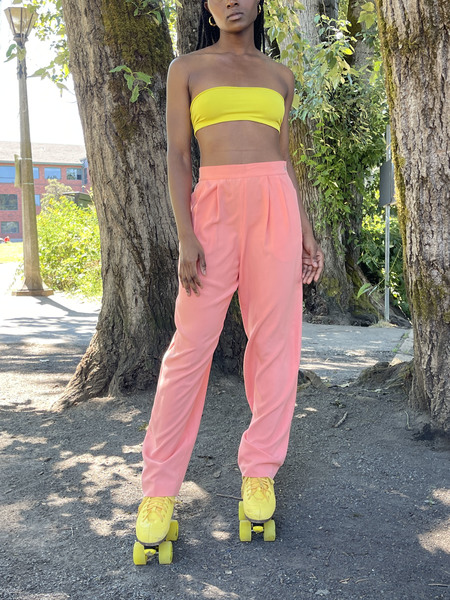 Vintage Silk High Rise Trousers - Coral