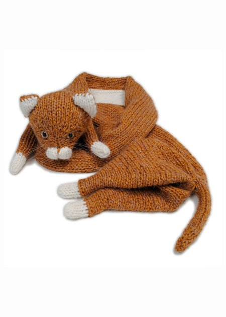 Doublet Stuffed Cat Hand-Knitting Scarf - Camel