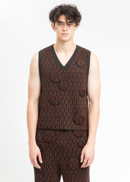 Doublet Monogram JQ Knit Vest - Khaki