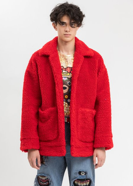 Doublet  Hand-Painted Recycle Fur Jacket - Red