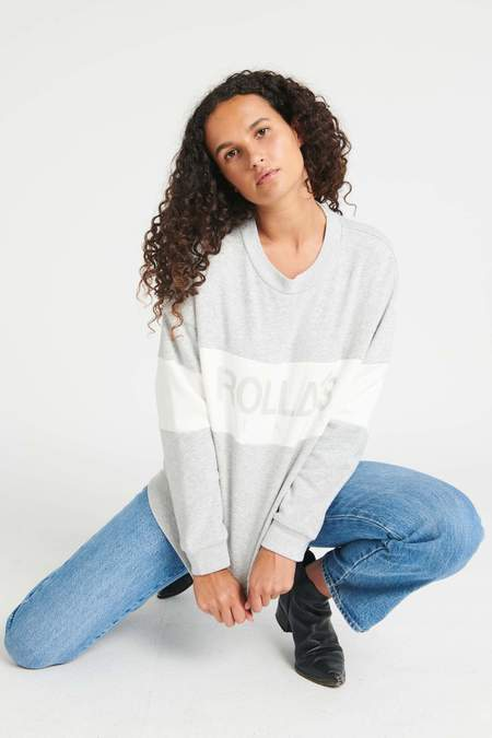 Rollas Split Logo Sweater - Grey Marle