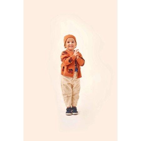 kids tinycottons dog baby cardigan - true brown/dark copper