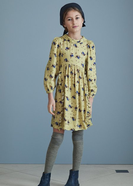 kids Caramel Earth Dress - yellow Thistle Print