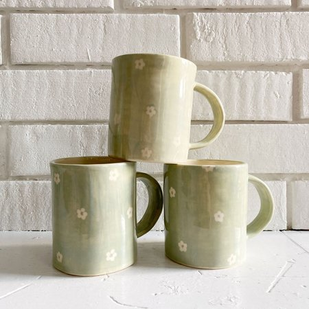 Erika Christine Pale Petunia Mug - Sage Green