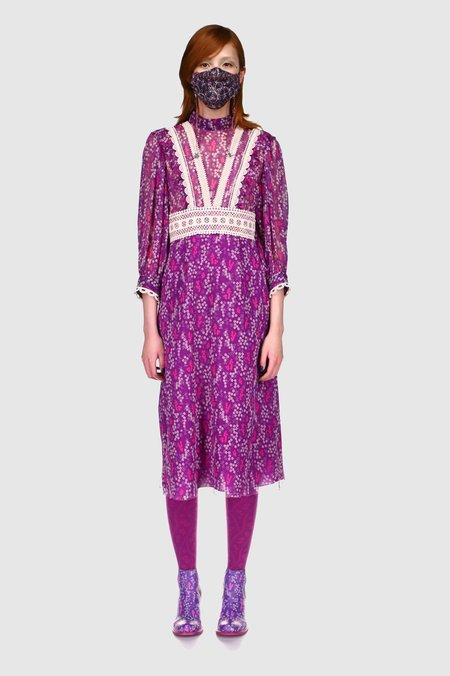 Anna Sui Ditsy Blooms & Lace Dress - PURPLE MULTI