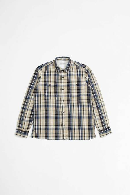 Officine Generale Ahmad Japanese Cotton Shirt - Ecru/Blue