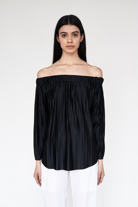 Assembly New York Poly Pleat Off Shoulder Top