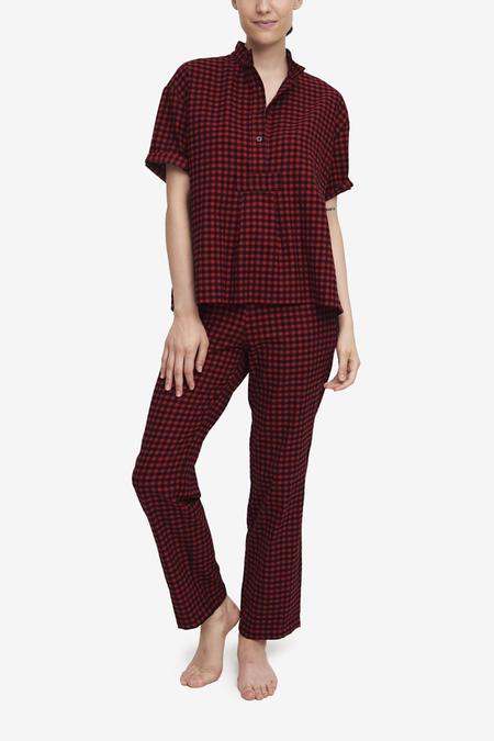 The Sleep Shirt set Short Sleeve Cropped Sleep Shirt and Slash Pocket Pant - Red Buffalo Check