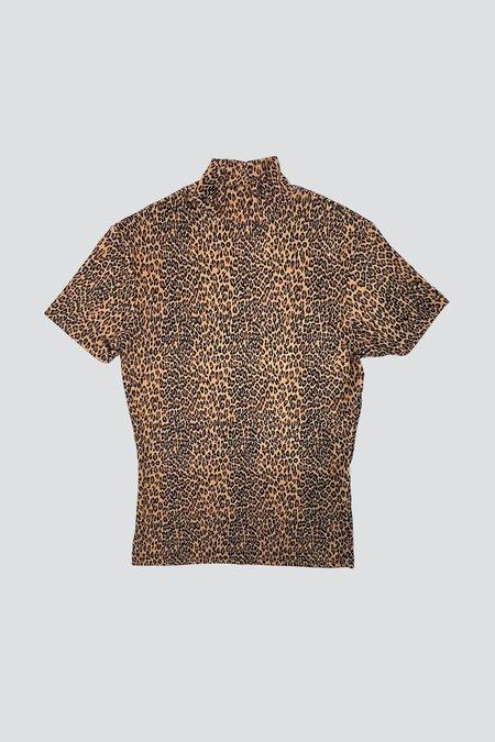 Vintage Rayon Mockneck Tee - Orange Leopard