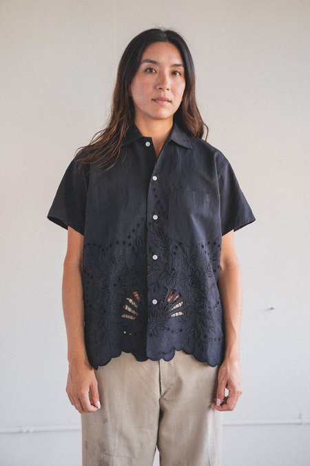 Bode Lace Cutwork Short Sleeve Shirt - Black