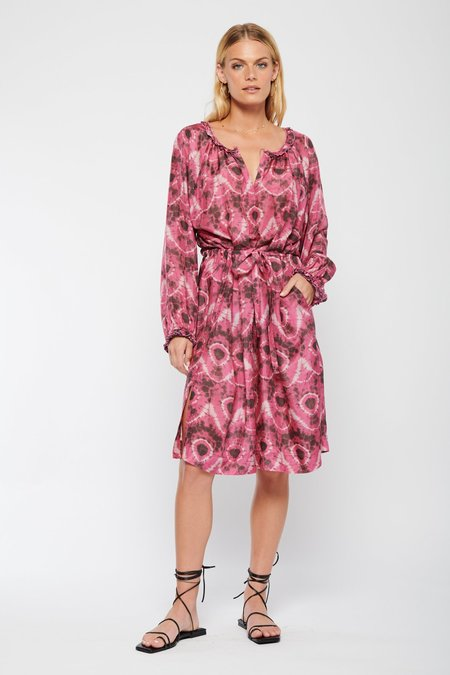 Raquel Allegra Ether Print Dress - Tie Dye Lace Bright Pink