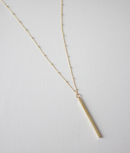 Katie Waltman Long Bar Pendant Ball Chain necklace - gold plated