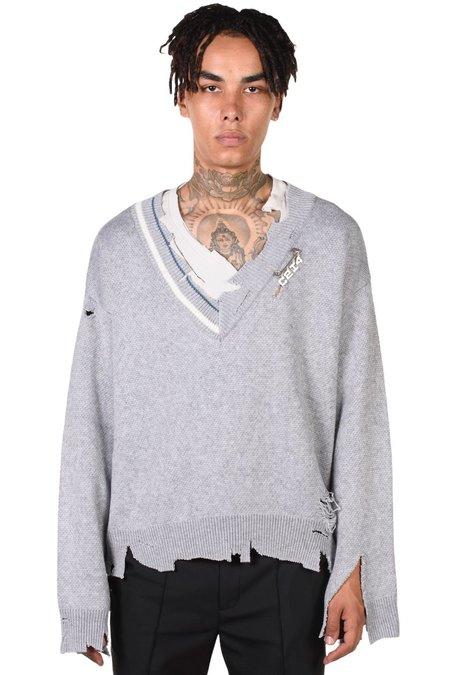 C2H4 Distressed Knit Layered Sweater - Grey