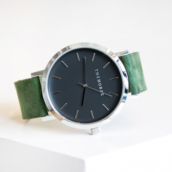 The Horse Original A13 Polished Steel Green Leather