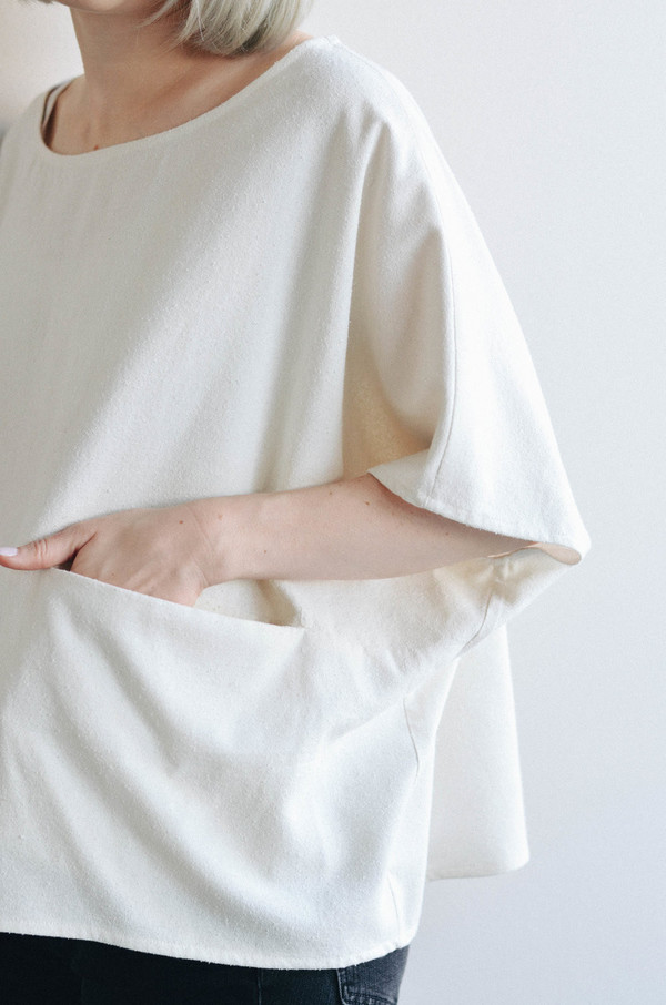 Jamie + The Jones Pocket Box Top, Natural Raw Silk