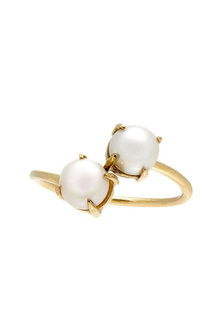 Loren Stewart Double Pearl Prong Ring