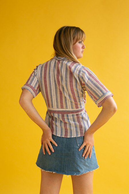 Vintage 1970s Top - Cheese Cloth Stripe