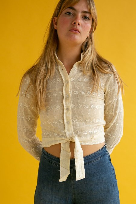 Vintage 1970s Embroidered Blouse