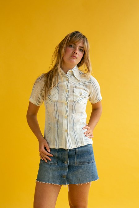 Vintage 1970s Stripe Cheesecloth Blouse