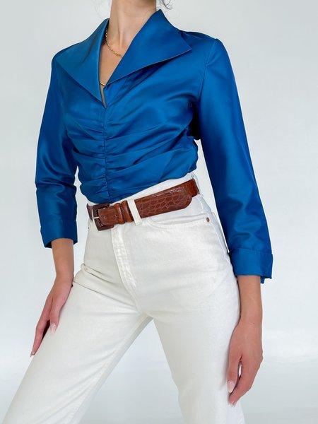 Vintage Shimmer Ruched Silk Blouse - Blue
