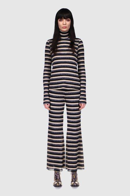 Anna Sui Metallic Stripe Knit Crop Top - BLACK MULTI
