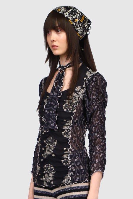 Anna Sui Pop Flowers & Poises Ruffled Mesh Top - Black Multi