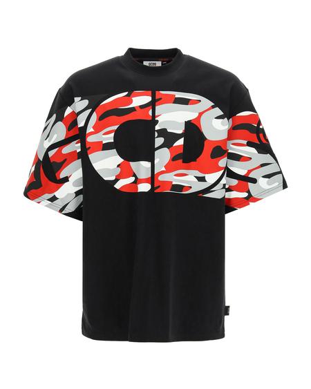 GCDS T-shirt with Camo Print - Black