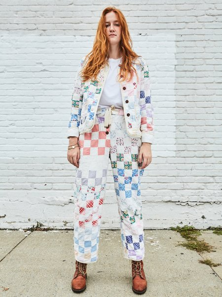 Marvin Ruby Striped Patch Quilted Pant