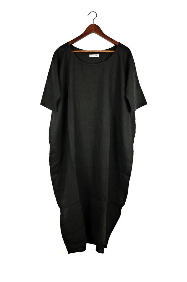 Rachel Craven Textiles Long Cocoon Dress - Black Linen