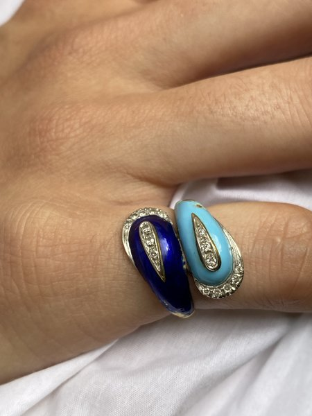 Vintage Enamel and Diamond Bypass Ring - 18k