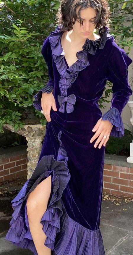 Vintage Custom 1970s Velvet Evening Gown dress - Purple