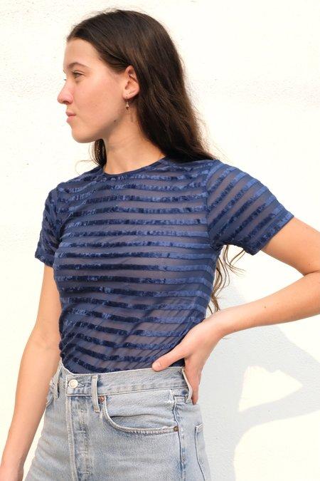 Baserange Burnout Velour Omo Tee - Darya Blue Stripe