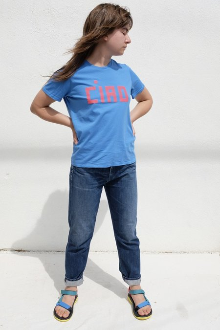 Clare V. Camp Fit Ciao Tee - Blue/Poppy