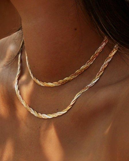 "Pamela Love Twisted Tricolor 14"" Herringbone Chain"