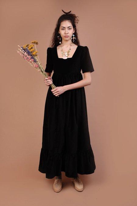 Meadows Clover Dress - Black Velvet