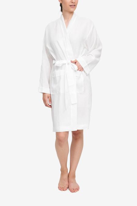 Unisex The Sleep Shirt Linen Robe - White