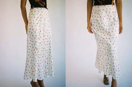Yuhan Wang Red Rose Skirt - WHITE
