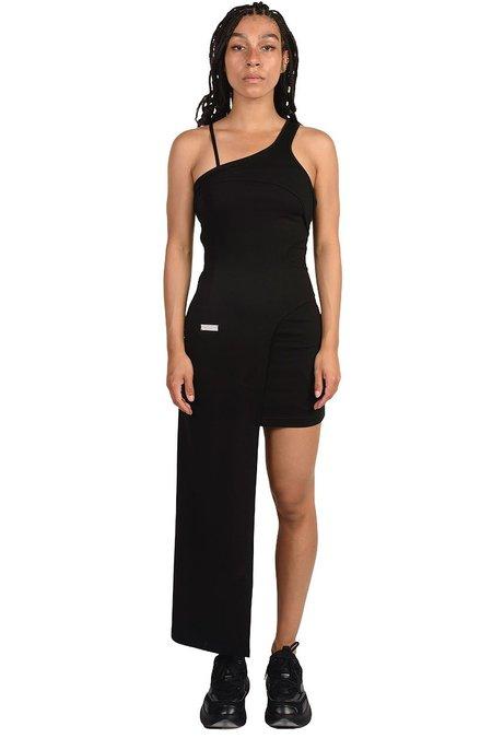 C2H4 Asymmetric Hem Midi Dress - black