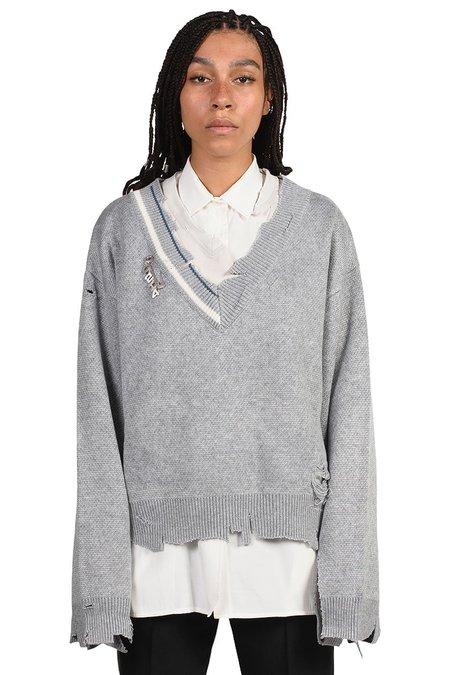 C2H4 Distressed Knit Sweater - Grey