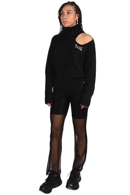 C2H4 Off-Shoulder Arc Knitted Distressed Sweater - BLACK
