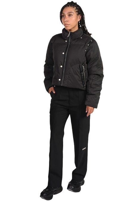 C2H4 Rivet Leather Panelled Down Jacket - BLACK