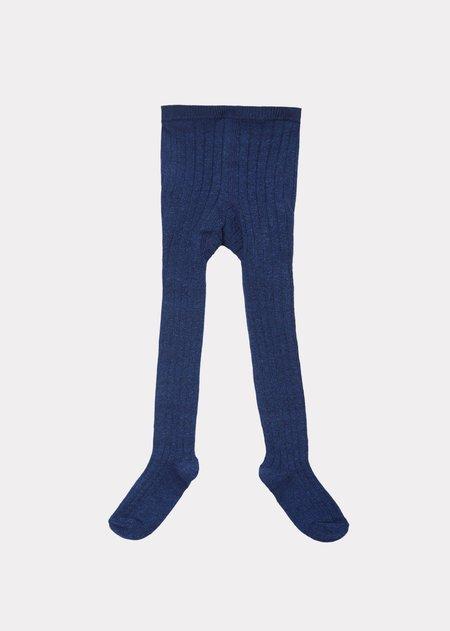 Kids Caramel Baby Rib Tights - Blue Melange