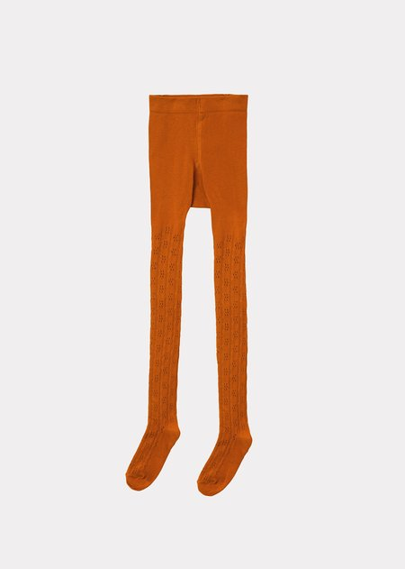 kids Caramel Child Pointelle Tights - Curry