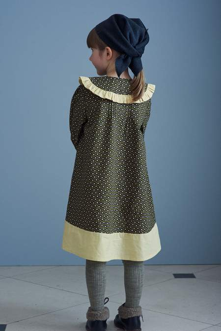 kids Caramel Mercury Dress - Olive Flower Spot Print