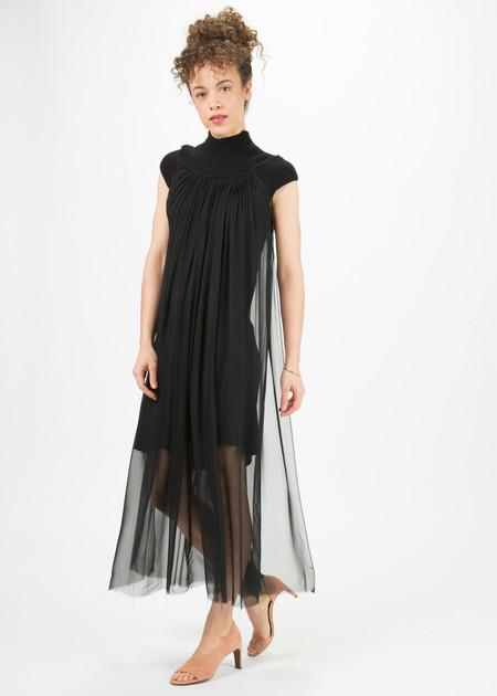 Louiza Babouryan Cashmere and Chiffon Cap Sleeve Dress